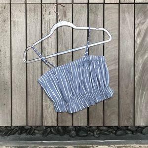 KIMCHI BLUE Blue & White Striped Crop Top